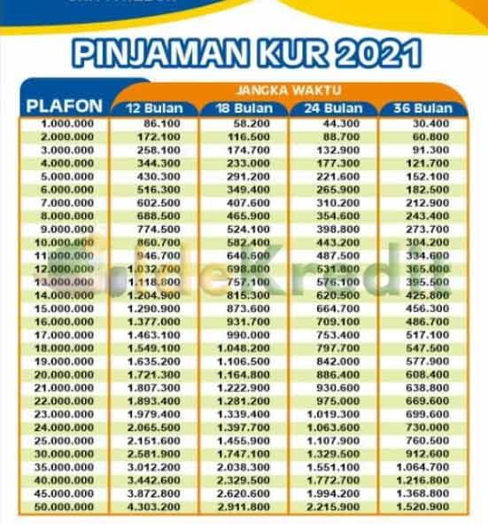 Tabel Pinjaman KUR BRI Terbaru