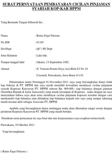 17 Contoh Surat Pernyataan Pembayaran Cicilan Hutang Doc Idekredit