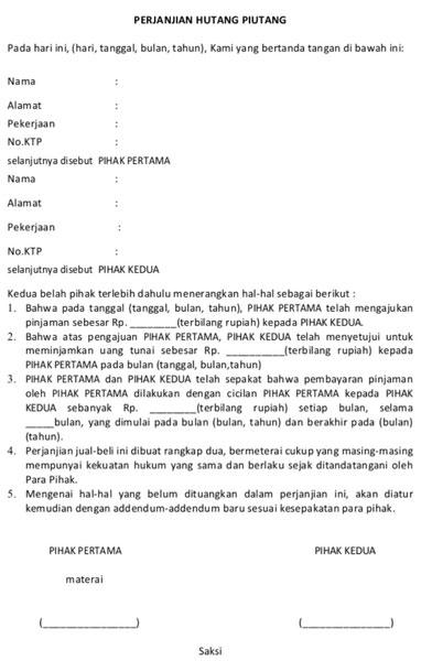 Surat Pernyataan Pembayaran Cicilan Hutang Lainnya