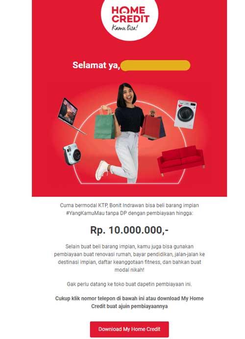 Email Pembiayaan Multiguna Home Credit