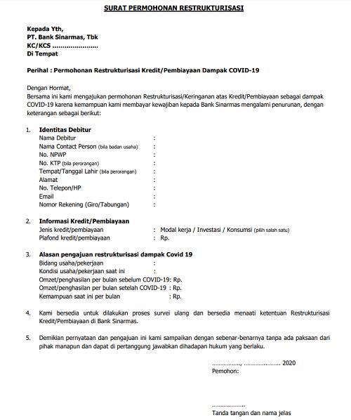 Contoh Surat Permohonan Restrukturisasi
