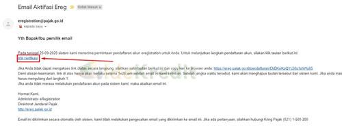 2. Verifikasi Email Pendaftaran EREG PAJAK