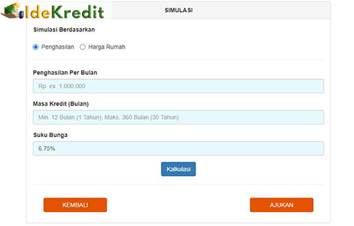 3 Jika memilih berdasarkan pinjaman maka kamu harus memasukan besaran penghasilan per bulan