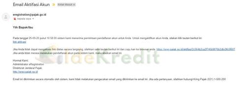 4. Cek Email Aktifasi Akun Ereg Pajak