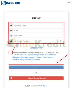 4. Masukkan nama lengkap email password dan konfirmasi password