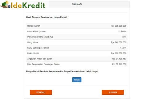 6 Nantinya akan muncul hasil simulasi dari harga rumah masa kredit persentase uang muka
