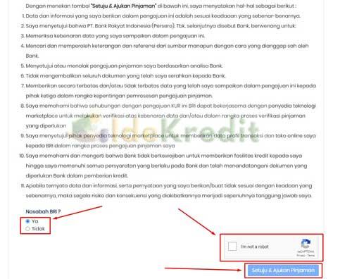 6. Silahkan baca syarat dan ketentuan dan pilih apakah kamu nasabah BRI atau bukan