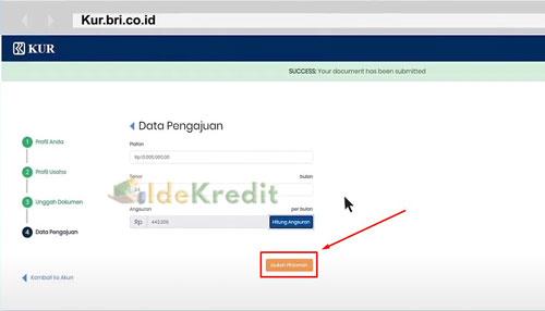 8 Setelah itu baru memasukkan data pengajuan dari mulai jumlah pinjaman