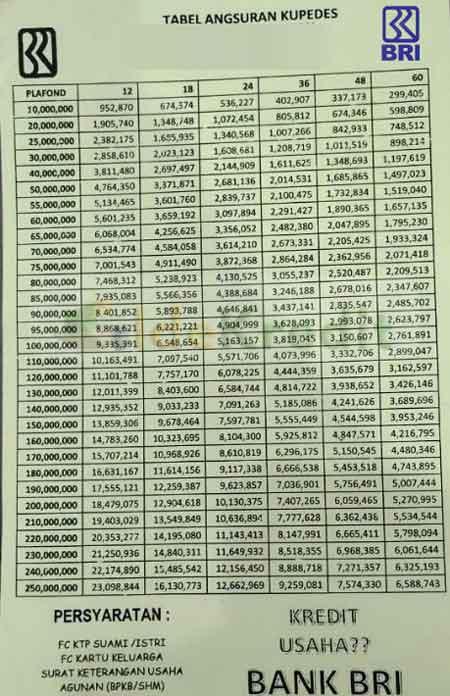 Tabel Pinjaman Bank BRI Terbaru Bulan Ini