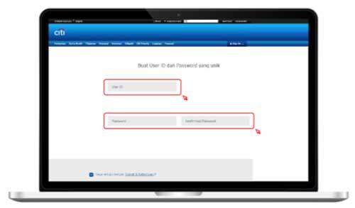 Buat User ID dan Password