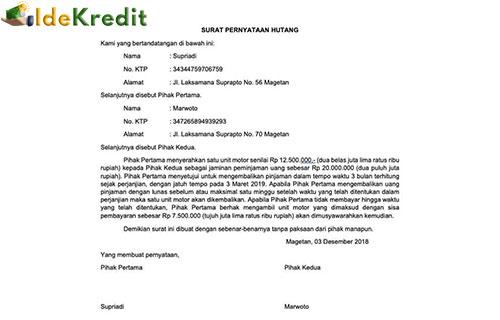 Contoh Surat Pernyataan Hutang Piutang