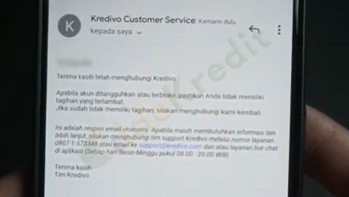 Mendapatkan Email Balasan dari Kredivo