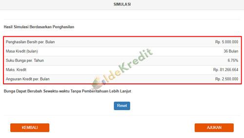Informasi Simulasi Kredit KPR BNI muncul