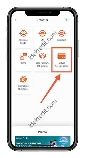 Pilih Menu Virtual Account Billing