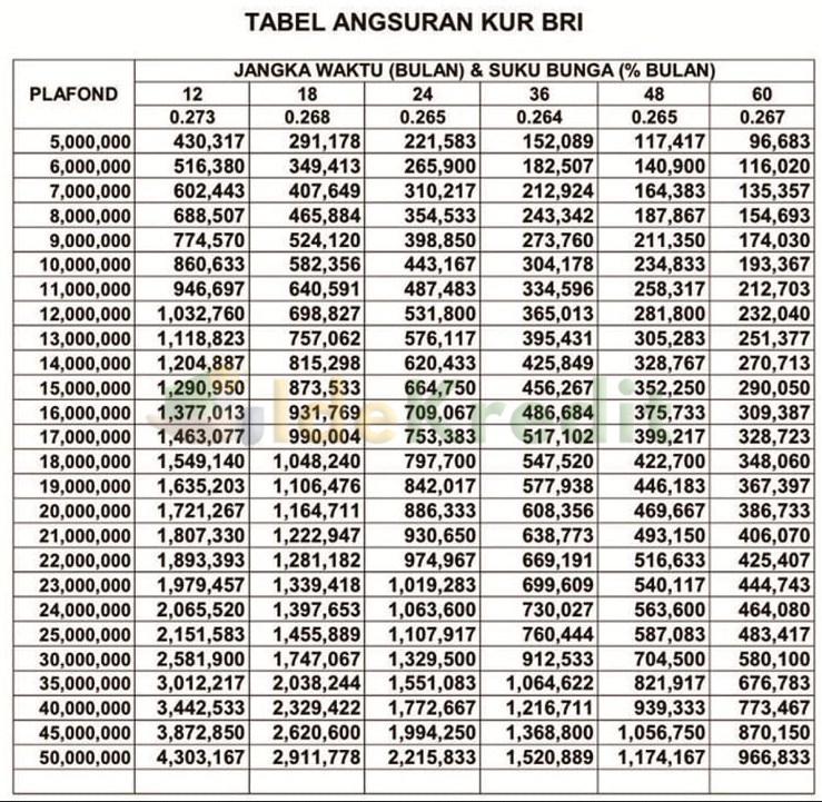 Tabel Angsuran Top Up KUR BRI Plafond Rp 50 juta