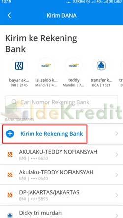 Pilih Kirim ke Akun Bank