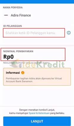 Masukkan ID Pelanggan Jumlah Angsuran