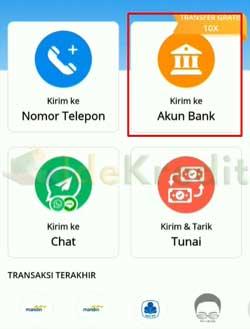 Pilih Kirim ke Akun Bank 1