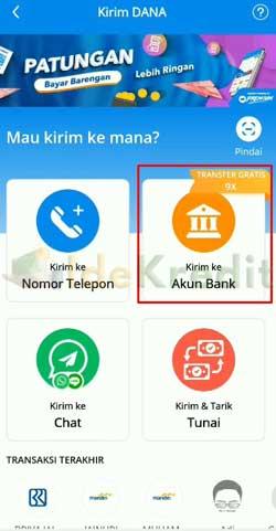 Pilih Kirim ke Akun Bank 2