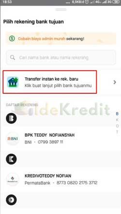Pilih Transfer Instant ke Rekening Bank