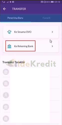 Pilih ke Rekening Bank