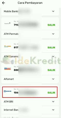 Salin Nomor VA Pembayaran