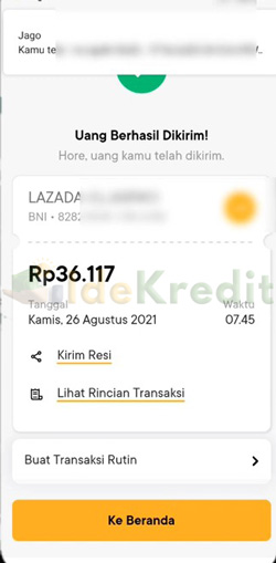 Bayar Lazada Paylater Lewat Bank Jago Berhasil