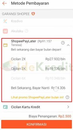 Pilih ShopeePayLater