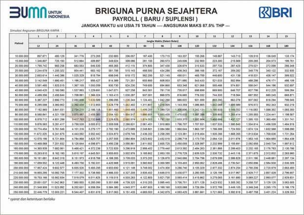 Tabel Angsuran Kredit Pensiunan BRIguna Purna