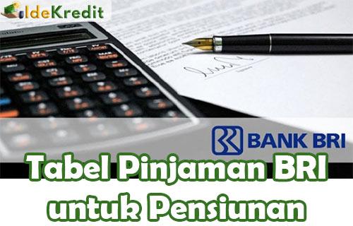 Tabel Pinjaman BRI untuk Pensiunan 1