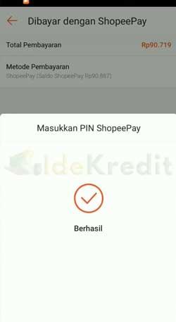 Bayar Shopee Paylater Pakai ShopeePay Berhasil